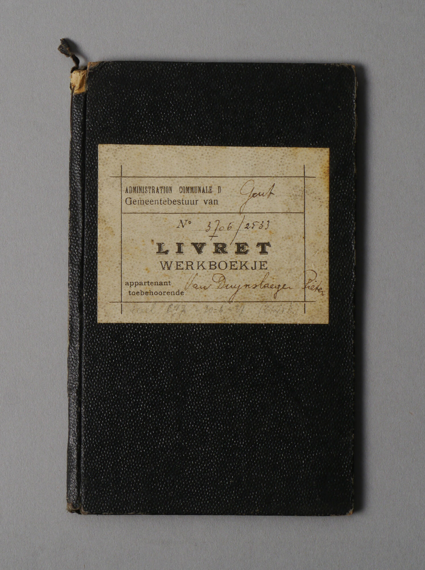 Werkboekje van Pieter Van Duynslaeger