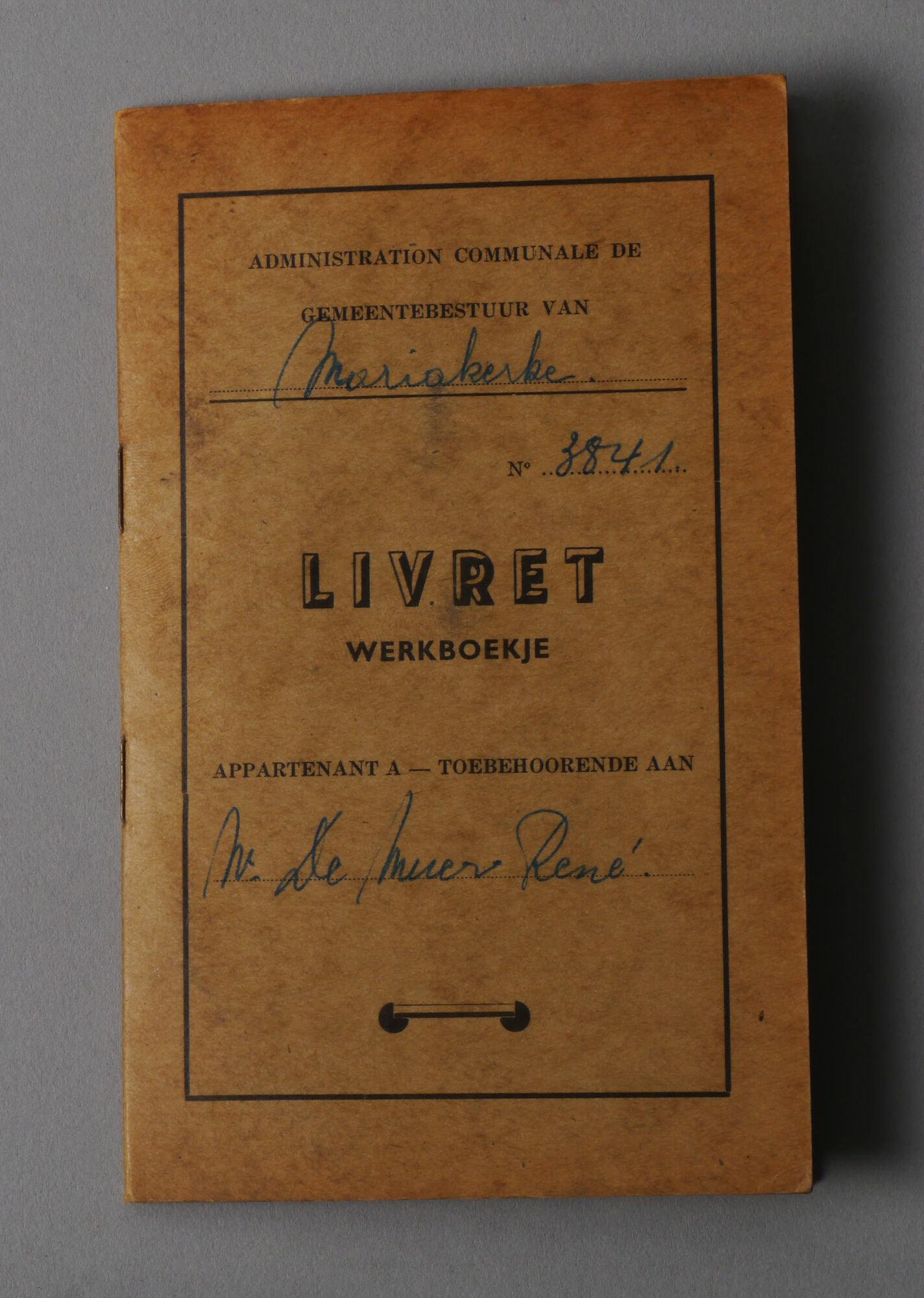 Werkboekje van René-Antoine De Muer