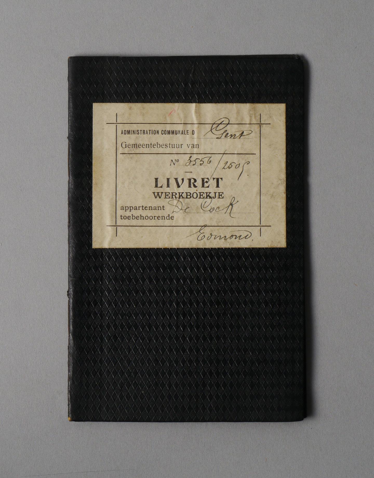 Werkboekje van Edmond De Cock