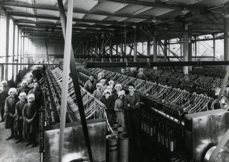 Binnenzicht vlasspinnerij La Linière Gantoise in Gent