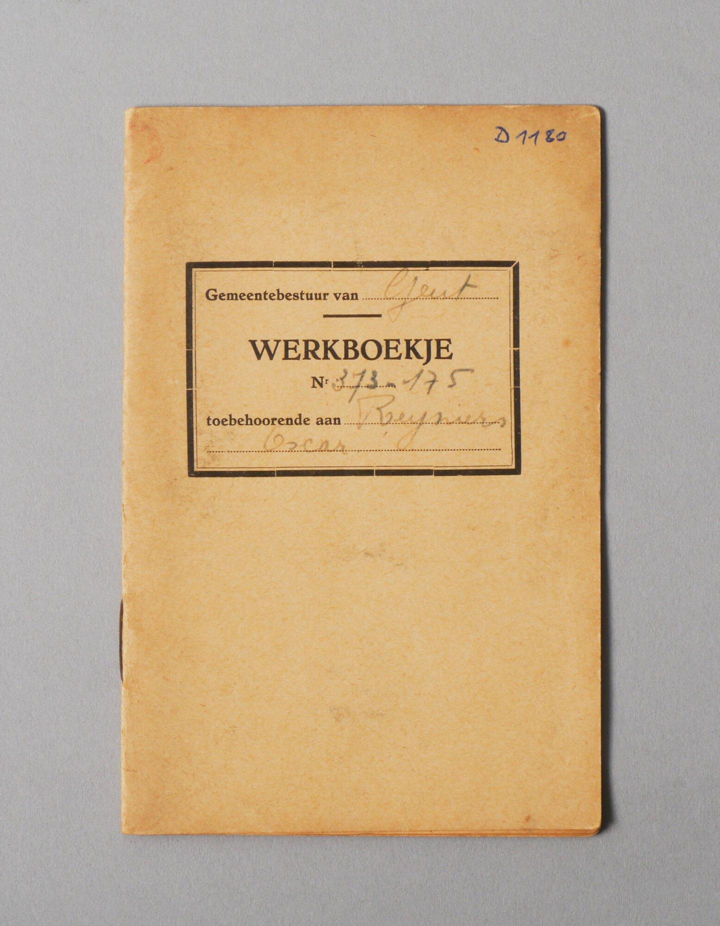 Werkboekje van Oscar Reyniers