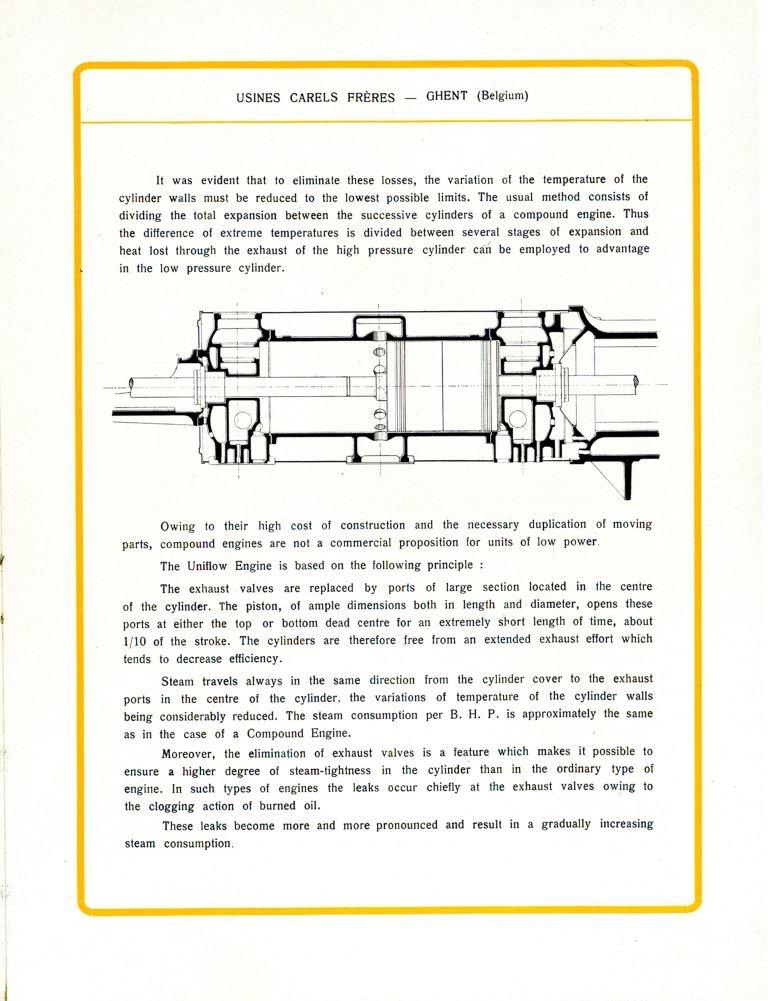Productcatalogus waarin het bedrijf Carels zijn stoommachines met 1 cilinder voorstelt