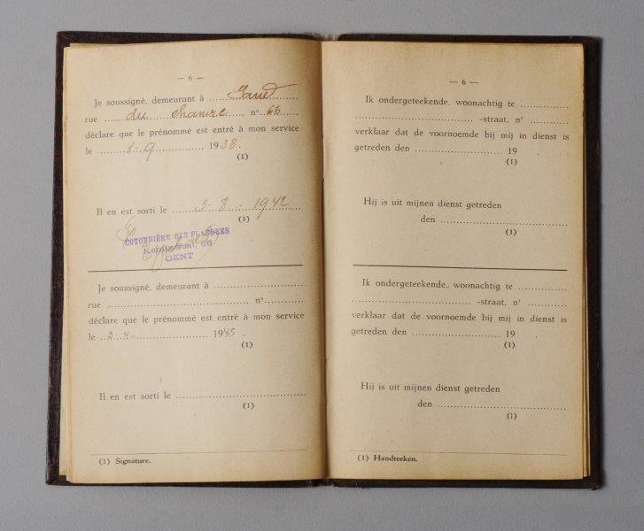 Werkboekje van Madeleine Coussement