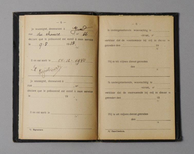 werkboekje van Pieter Maurits Verhelst
