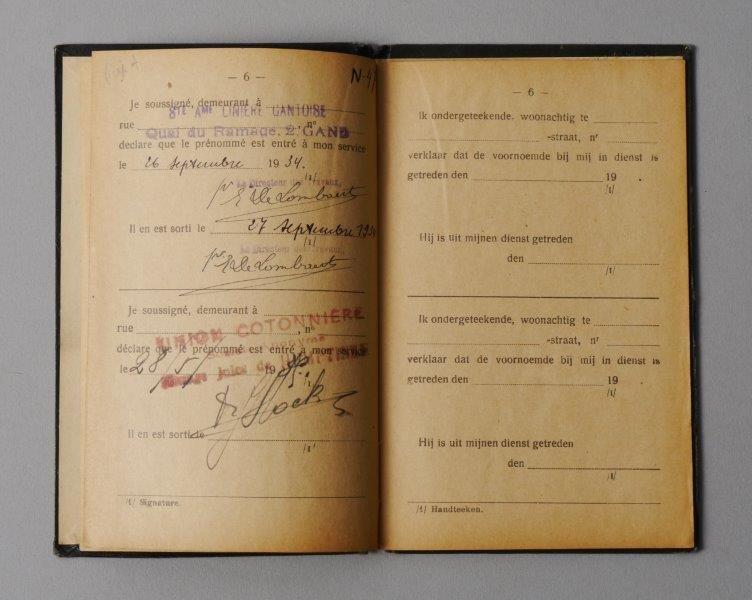 Werkboekje van Maria Van Oostende