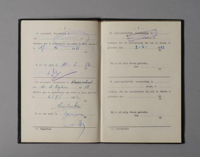 Werkboekje van Arseen Juliaan Goossens