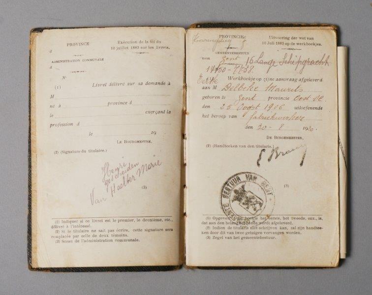 Werkboekje van Maurits Delbeke