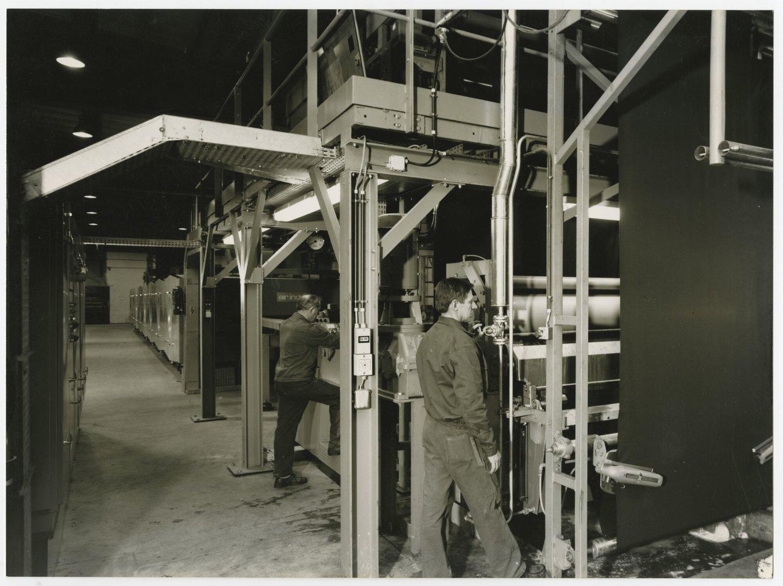 Binnenzicht van textielfabriek UCO TAE in Destelbergen
